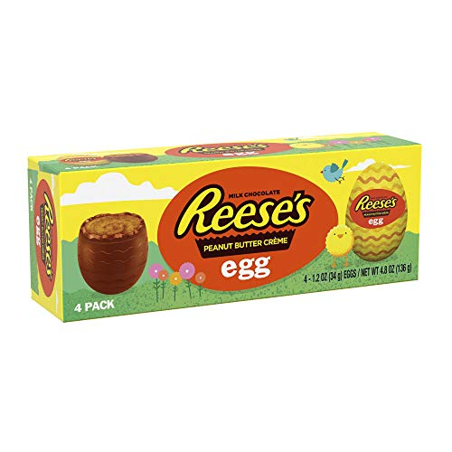 (Reese's (1) Box 4pc Peanut Butter Creme Egg Milk Chocolate Easter Eggs Candy 4.8 oz)