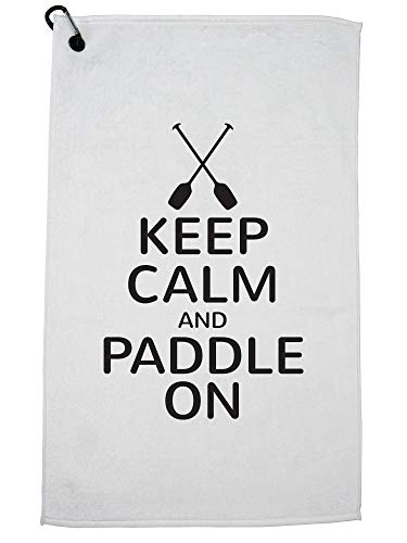 Hollywood Thread Keep Calm and Paddle On Rowing Kayak Graphic Golf Towel with Carabiner Clip by Hollywood Thread
