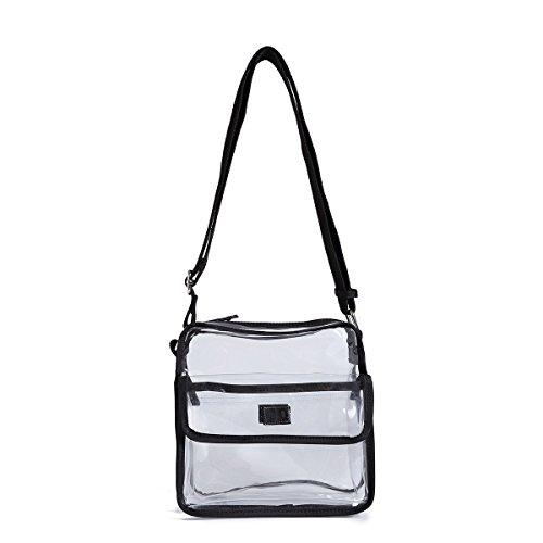 Clear Bag Messenger Crossbody with Velcroed Front Flap Pocket and Adjustable Shoulder Strap