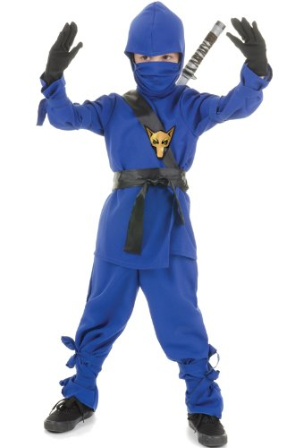 Blue Wolf Ninja Kids Costume, Blue/Black, XL (Black Lightning Halloween Costume)