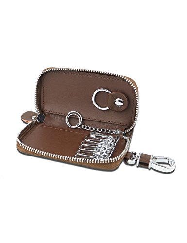 July Leather Key Case with 6 Hook Key Holder 1 Car Key Ring for (Six Hook Key Case)