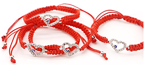 RufnTop 4 pcs Lucky Evil Eye Protection for Kabbalah Medal on Red Cord Braided String Ancient Silver Tone Inspirational Breathe Bracelet Evil Eye, 8 Inch Blessing, Hand-Made(Heart)