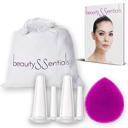 BEST FACIAL CUPPING THERAPY 6 PC SET for Glowing Skin, BONUS Silicone Brush & Travel Bag, Anti-Aging Secret to Increase Blood Circulation, Reduce Inflammation, Fine Lines & Wrinkles, Face Massage Tool