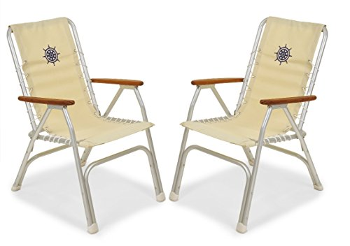 FORMA MARINE Set of 2 High Back Deck Chairs, Boat Chairs, Folding, Anodized, Aluminium, Off White, Model - High Chair Deck Back