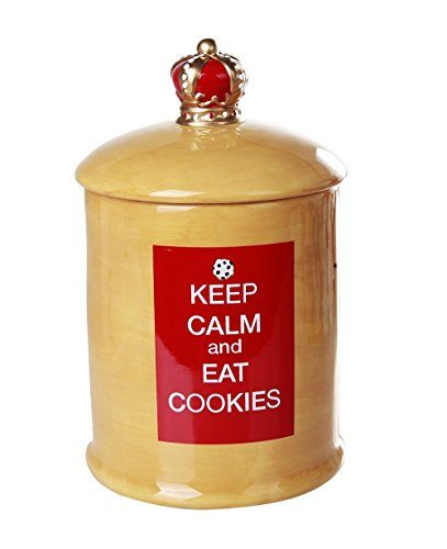 Pacific Giftware Keep Calm and Eat Cookies Ceramic Cookie Jar with Air Tight Lid 8.75 inch Tall (Cookie Lid Ceramic With Jar)