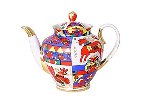 Imperial / Lomonosov Porcelain Folk Patterns Teapot 22k gold by Imperial Porcelain Factory