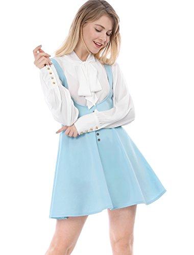 Allegra K Women's Button Decor Flared Above Knee Dress Suspender Skirt XS Blue