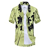 Pervobs Men's Casual Daily Hawaiian Style Printed Summer Short Sleeve Slim Fit Button-Down Beach Shirts Tops Blouse(S, Green)