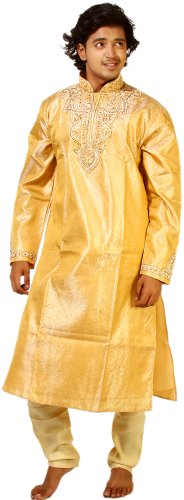 Exotic India Golden-Apricot Wedding Kurta - Multi Color Size 42 by Exotic India