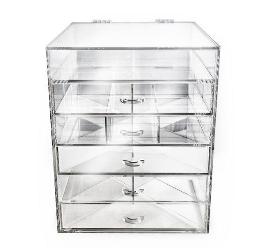 Beauti Cube 5 Drawer Plus 1 Lid Acrylic Make Up Organizer Case by Beauti Cosmetics