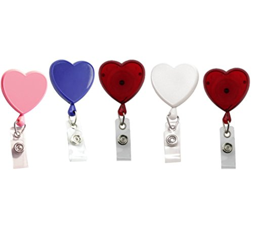 Badge Reel Heart Shaped (Specialist ID Heart Shaped Badge Reels with Alligator Clip for Nurses (Pack of Five) (Assorted Colors))