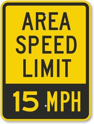 Area Speed Limit - 15 MPH, Fluorescent Yellow Diamond Grade Reflective Aluminum Sign, 18