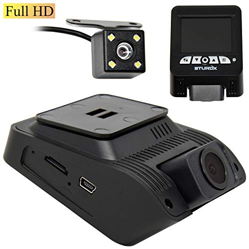 SturdX High Definition Full HD 1080P Dual Dash Camera Wide Angle Night Vision with 2.4