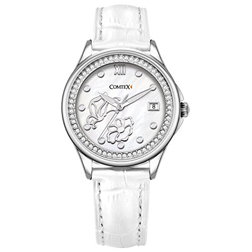 (Comtex Women's Wrist Watches with White Leather Butterfly Flower Dance Dial Princess Butterfly Lady Watch)