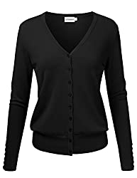Jj Perfection Women S V Neck Button Down Long Sleeve Knit Cardigan Sweater Black M
