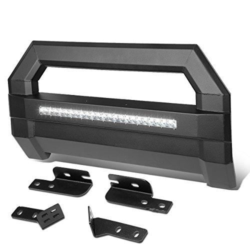 For Ford F150 Square Tube Lightweight Bull Bar w/LED Light+License Plate Relocation Kit (Black) (Kit Relocation Bar)