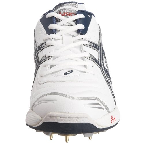 Asics - Zapatillas de críquet de cuero nobuck para hombre blanco/azul marino/rojo