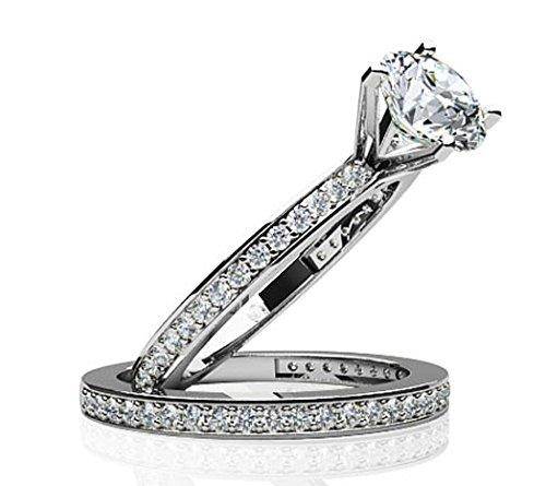 14K Or blanc diamant canal Band de mariage Ensemble