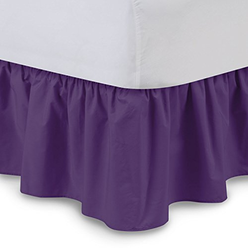 Ruffled Bed Skirt (Queen, Grape) 21 Inch Drop Bedskirt with Platform, Wrinkle and Fade Resistant - by Harmony Lane (Available in All Bed Sizes and 16 Colors)