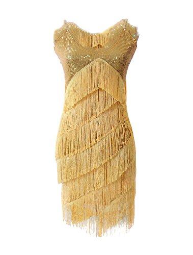 Danza Danza Vestido Mujer Discoteca Dorado Concurso Latín Tassle Albaricoque Moderno Vestido wHqHxap