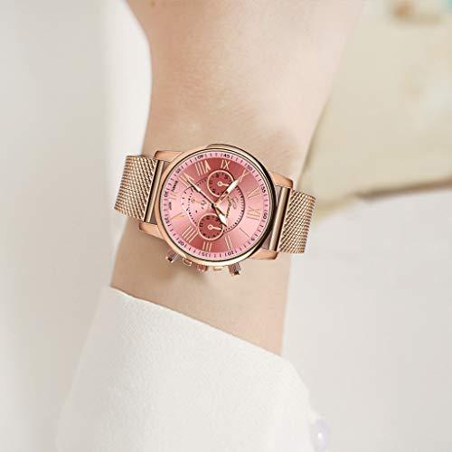 Pocciol Fashion Military Stainless Steel Quartz Watch Womens Casual Watch Luxury Analog Wristwatch (Pink) by Pocciol Cheap-Nice Watch (Image #2)