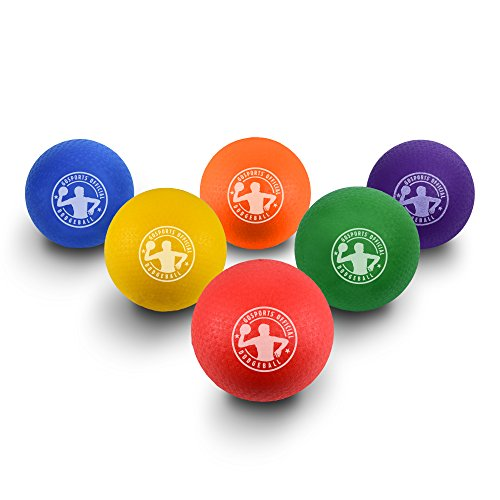"Price comparison product image GoSports 7"" Inflatable Dodgeball 6 Pack - No Sting Balls - Includes Ball Pump & Mesh Bag"