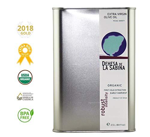 2018 Dehesa de la Sabina, NYIOOC Gold Award, USDA Organic Extra Virgin Olive Oil from Sierra de Cazorla, Spain (Latest Harvest 2.5L/84 fl.oz)