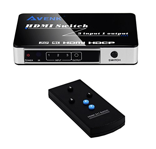 Cheap AVENK 3 Port 3×1 HDMI Switch Box 4K x 2K HDMI 1.4 Support HDCP Auto Switch with IR Remote Control and Power Adapter