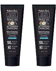 Naturecare 100ml Organic Coconut Peppermint Tea Tree Oil Activated Charcoal Toothpaste Whitening Gel | Vegan, No Fluoride, No GMO, No SLS