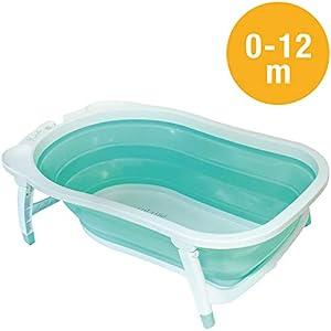 Babysun Baignoire Bébé, Pliable Ultra Compacte, 0-12 Mois, Contenance: 35L, Turquoise 94