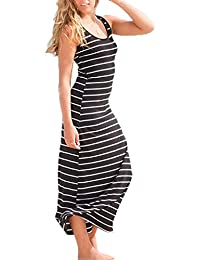 Women Cotton Stripe Dress Party Beach Long Sexy Casual Sundress
