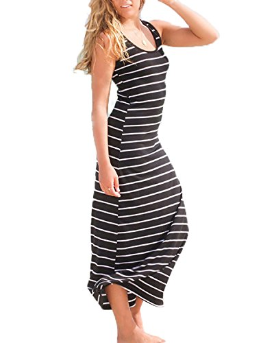 Stripe Casual Dress - ZANZEA Women Cotton Stripe Sexy Sleeveless Casual Elegant Party Beach Long Tank Dress Sundress Black US 4