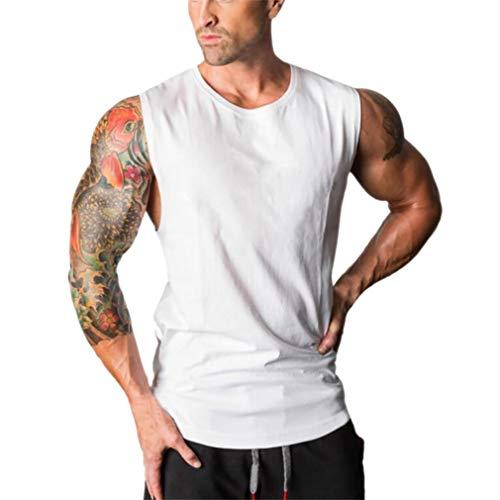 YOcheerful Men Gym Vest Sleeveless Tank Top Knit Sexy Muscle Shirt Tee Beachwear (Unc Basketball Shorts)