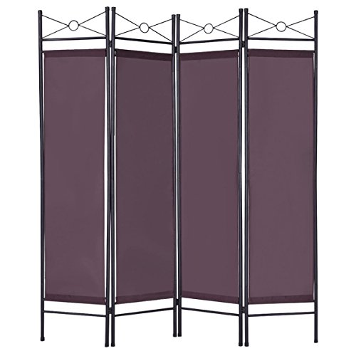 Brown 4 Panel Room Divider Privacy Folding Screen Home Office Fabric Metal (Deco Mesh Halloween Tree)