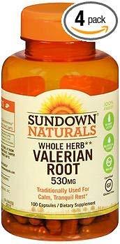 Sundown Naturals Valerian Root 530 mg Capsules - 100 ct, Pack of 4