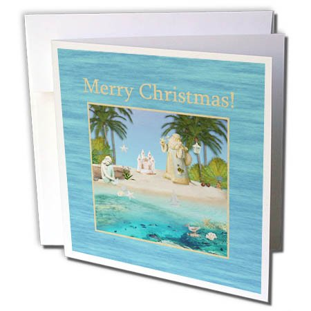 3dRose Beverly Turner Christmas Design - Beach Christmas, Santa, Mermaid, Sandcastle, Star Fish, Christmas - 1 Greeting Card with envelope (gc_267979_5)