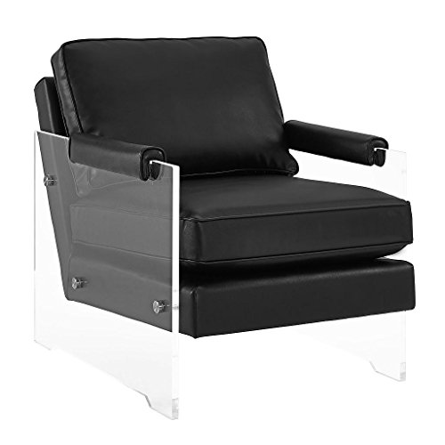 TOV Furniture The Serena Collection Modern Style Eco-Leather Upholstered Lucite Frame Living Room Accent Chair, Black