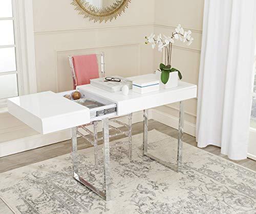 Safavieh FOX2200A Home Collection Berkley Desk, White/Chrome