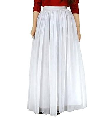 """YSJERA Women's 4 Layers 39.3"""" Maxi Skirt Bridal Wedding Party Skirts Tutu Skirt Long Pettiskirts"""