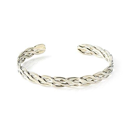 Mgd, 10mm de large tissé à bras Brassard réglable haut du bras Bracelet, Argenté Base Laiton, taille unique, bijoux tendance pour femme, Je-0195m