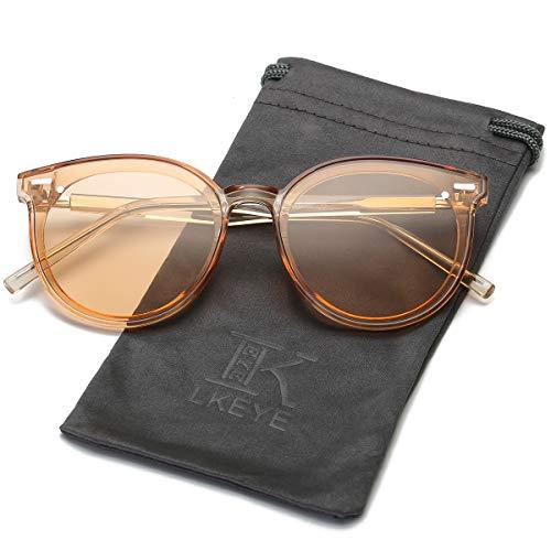 LKEYE Vintage Retro Polarized Oversized Keyhole Round Mirrored Lens Sunglasses For Women Eyewear LK1801 ()