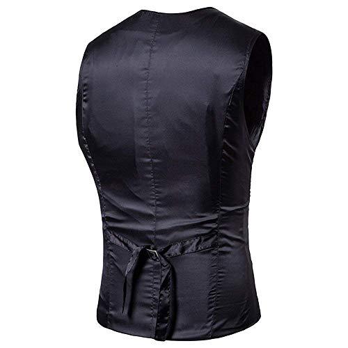 Elegante Uomo Slim Tuta Tuxedo Scollo Gilet Schwarz Vest Con Giovane Fit A V Da 8q4wpq65