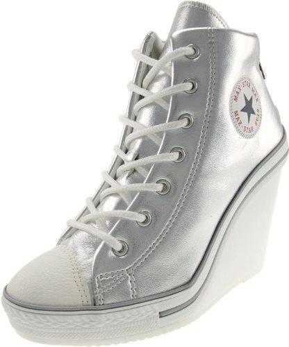 e91af822982b Maxstar Women s 777 Back Zipper PU High Wedge Heel Sneakers ...