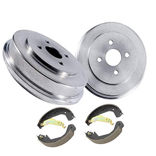 Detroit Axle - Pair (2) 240mm Rear Brake Drums + Ceramic Brake Shoes for 1992 1993 1994 1995 1996 1997 1998 1999 2000 Honda Civic - [1986-1989 Accord]