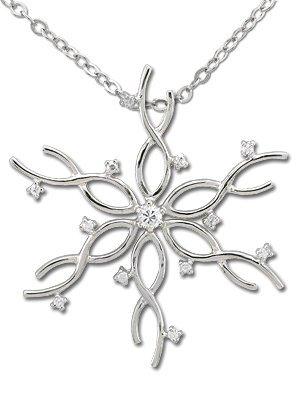 Rhodium Snowflake Pendant (Rhodium Plated Sterling Silver Cubic Zirconia Snowflake Pendant with 18 Inch Cable Chain)