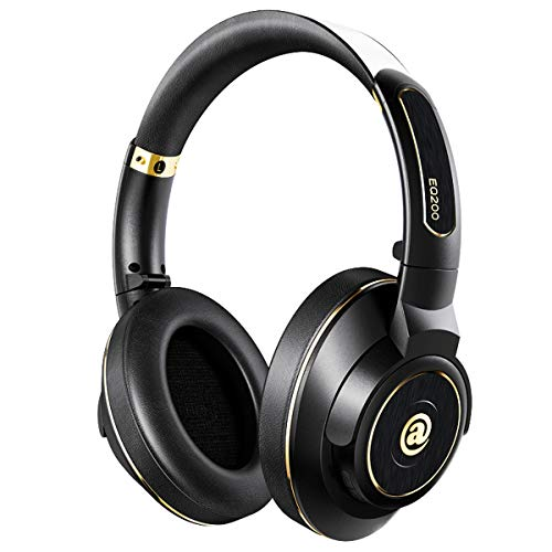 Aladdinaudio EQ200 Bluetooth Over Ear Headphones Metal Hi-Fi Stereo Wireless Headset Lightweight Adjustable Noise Isolating Comfortable Leather Earphones with Mic,atpX for iPhone iPad PC (Black)