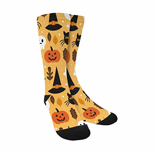 InterestPrint Funny Cute Novelty and Cool Skull, Pumpkin and Black Cat Halloween Sublimated Crew Socks (Halloween Skull Printable)