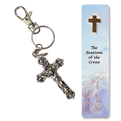 INRI Fleur de Lis Crucifix Anodized Nickel Keychain Zipper Pull includes Blessed Bookmark Stations of The Cross ()