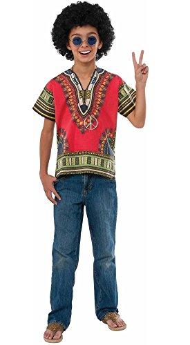 Rubie's Boys Child Hippie 60's 70's Costume -Poncho Wig Eyewear Size Small 4-6 -