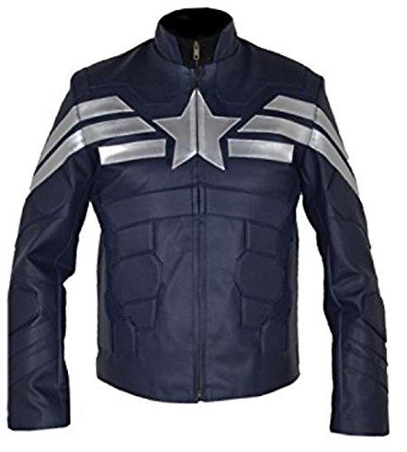 Leather Moda Blue Azul América Chaqueta faux Piel Hombres Artificial Invierno Color Capitán Bestzo Soldado De wOBUqaCZ